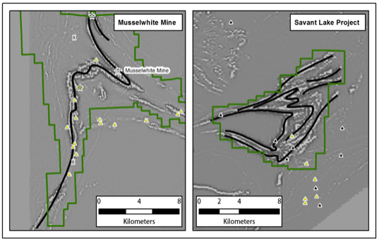 Comparison maps (same scale) showing Goldcorp's Musselwhite Mine land position with iron formation versus Savant Lake.